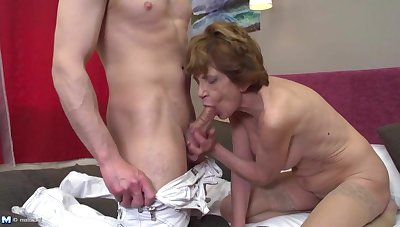 Grandma teaching young boy how 2 fuck a woman