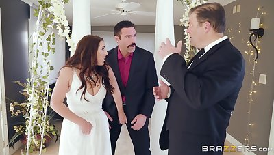 Mature bride Angela White cheats on groom right on a catch wedding