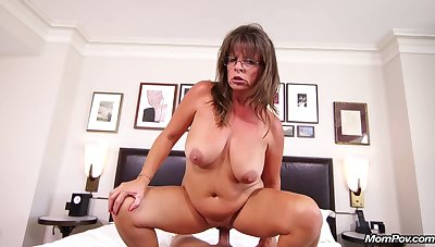 Whorish grandmother with big tits getting fucked hard in POV