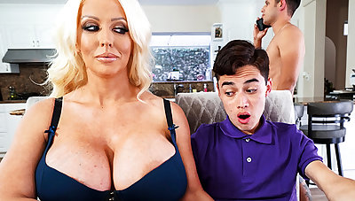 Busty stepmom interested connected with taste schoolboy's dick