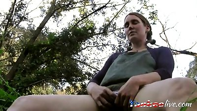 Milf orgasms outside near beach