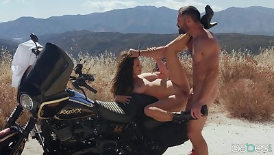 Crazy outdoor fucking on the motorbike with beamy bosom Ashley Adams
