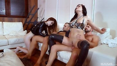 Cock swapping foursome perfection alongside duo whores