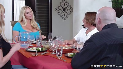 Massive tits mature Karen Fisher pleasures a guy at hand the cookhouse