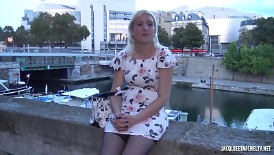 Mature blonde woman, Alysee is having casual sexual congress with a black guy, and enjoying it a lot