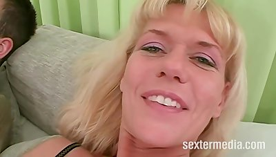 Slutty blonde mature was wearing only black stockings for ages c in depth she was getting fucked in be imparted to murder ass