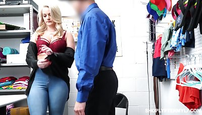 Glum chubby blonde Lisey Charming gets punished be useful to shoplifting