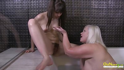 Chubby natural heart of hearts and hungry wet pussy of blonde british mature in hot tribadic personify
