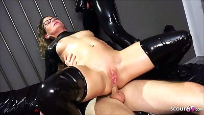 Real German teacher Izzy Mendosa loves an anal BDSM latex triple