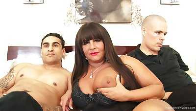Busty BBW milf gets pounded by team a few young guys