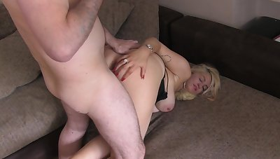 Doggy sex for be passed on thick ass mom with huge jugs
