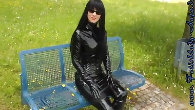 Fetish Sprog Walker Outdoors In Sexy Shiny Outfits