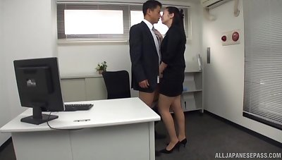 Hot office cissified is keen for the new guy's Asian cock