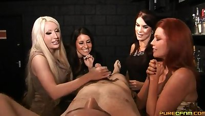 Handsome dude gets his dick pleasured by Megan Coxxx and friends