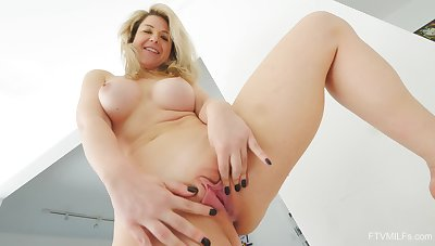 Big-chested MILF Kit has hammer away finest fun when toying with her cunt all alone