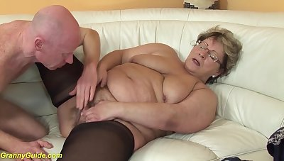 Ugly beamy mom in hot nylon stockings gets deep fucked with her broad in the beam cock join up