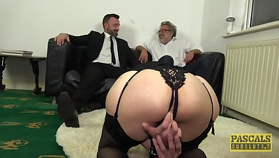 Gagged wife gets the big dick beside scenes of BDSM cuckold