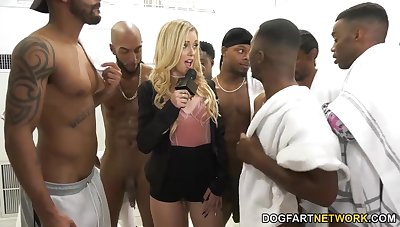 Black boys fuck gaping void throat of horrific white chick Kali Roses and cum on her face