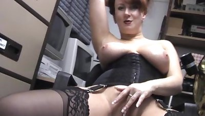 Hot MILF Red strips nearly with the addition of teases with her chubby tits with the addition of pussy
